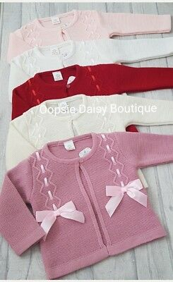 Baby Girls Gorgeous Spanish Double Ribbon Bow Cardigans upto Age 36mths