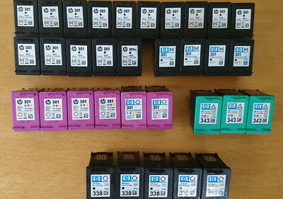 Original HP Druckerpatronen leer 25 x HP 301 black, tri-colour Zugabe 343, 338