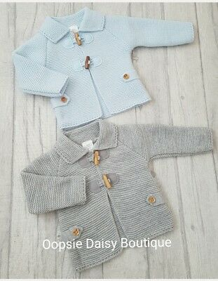 Babys Boys Spanish Knitted Duffle Style Cardigans Blue Grey