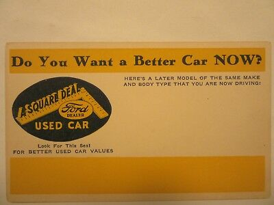 1940's 1950's Generic USED CAR advertising post card from the local FORD DEALER.