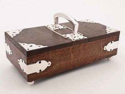 Victorian Oak and Silver Plated Cigar/Smokers Box