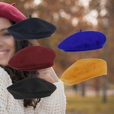 Girls Ladies Womens Plain Woollen French Beret Real Wool Vintage Hat - ONE SIZE
