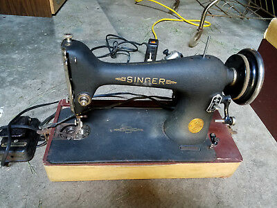 1947 Singer Sewing Machine Heavy Duty Vintage/w/case/for parts