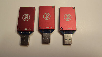3 RED Bitcoin Miners LOT ASIC Block Erupter USB's 333mh ( Lot of 3 )