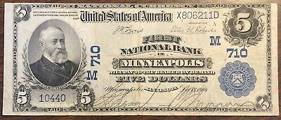 1902 $5 First National Bank in Minneapolis, MN National Banknote
