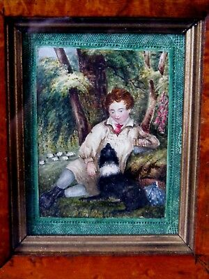 Antique Folk Art Painting, Boy with Dog c1840
