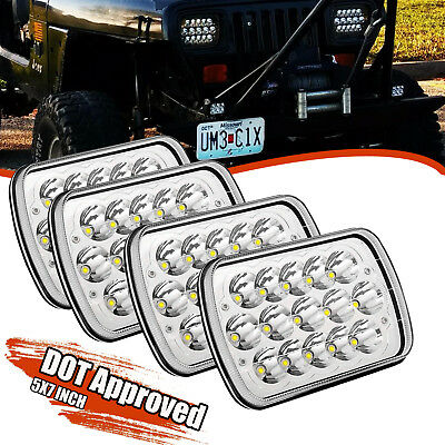 "pack of 4 5"" X 7"" Black LED Headlight Replacement for Jeep Cherokee XJ Truck 4X4"