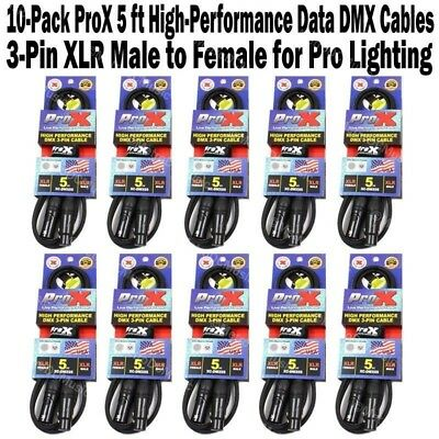 10 ProX 5 ft High-Performance DMX Cable 3-Pin Shielded Lighting XLR Male Female