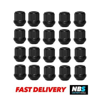 20 x Alloy Wheel Nuts black M12 x 1.5 19mm Hex for Ford Transit Connect
