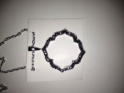 Brand New Sterling Silver Black Diamond Necklace  New with Tags