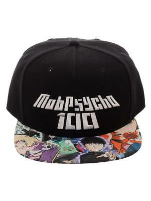 Official Mob Psycho 100 Logo Black Snapback Cap With Printed Visor (New)