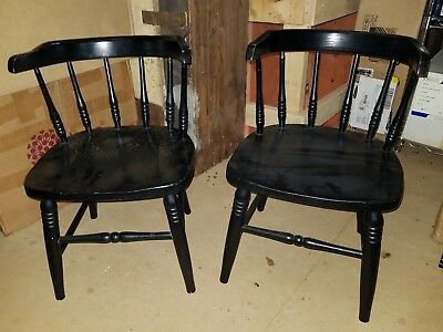 Vintage Pair of Children's Wood Captain's Chairs Set of 2