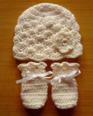 Handmade Hand Crocheted Baby Girl Flower Hat & Mitts Various Colours 100%Acrylic