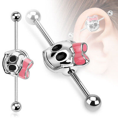 New Surgical Steel Novelty Skull Bow Industrial Scaffold Piercing Cartilage Bar