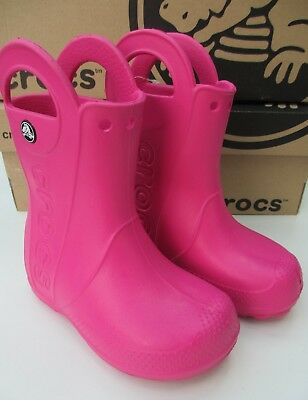 Genuine CROCS Handle It Rain Boot Wellies Fuchsia Pink UK C 9 EU 25-26 New BOXED