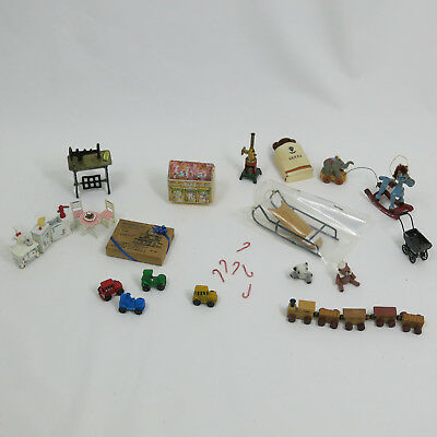 Vintage Dollhouse Children's Kids Room Play  Toys Trains Cars Christmas Sled