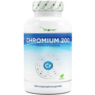 365 Tabletten Chromium 200mcg - Hochdosiert & vegan - 100% Chrom Picolinate