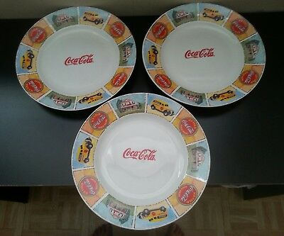 """Coca-Cola dinner plates (3) Marketed by Gibson.  11 1/4 """""""