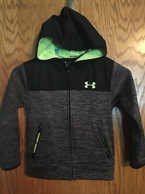 Boys Under Gray/ Lime Green Armour Zip Up Jacket Sweatshirt Hoodie Size 5