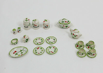 Vintage Artisan Miniature Dollhouse Tea Set Canister S&P Platter  Ceramic Flower