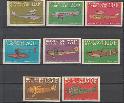 Gabon - 1970 Aviation imperforated set  Sc# C105a/C105h - No gum (7084)
