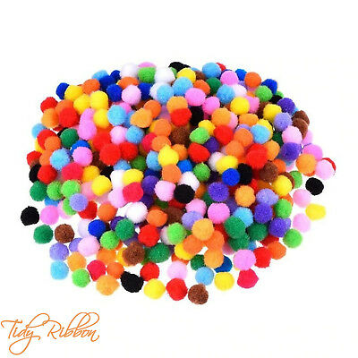 50 Mixed Colour Pom Poms 10mm Small Card Making Decoration Kids Craft Art Mini