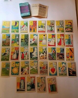 Vintage Antique 1940s Old Gypsy Fortune Telling Cards Complete Set Halloween