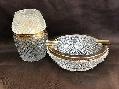 Mid Century Frosted Cut Crystal Glass Lighter Ashtray Set