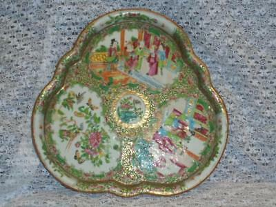 Antique - Oriental - Famile Rose - Enamelled / Decorated Tray With Figures