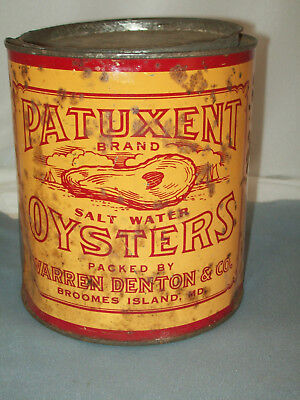 Patuxent Brand Warren Denton Broomes Island Md Vtg Oyster Tin Can 1 Gal.