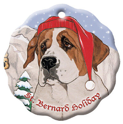 Saint Bernard Holiday Porcelain Christmas Tree Ornament