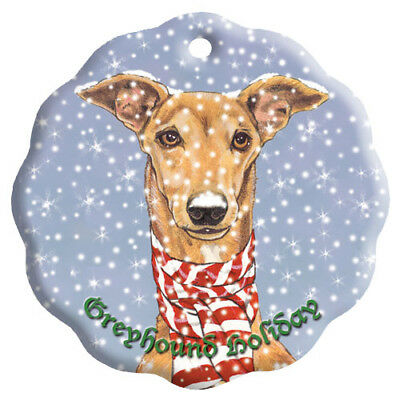 Greyhound Fawn Greyhound Holiday Porcelain Christmas Tree Ornament