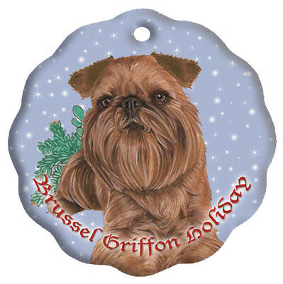 Brussels Griffon Beige Red Holiday Porcelain Christmas Tree Ornament