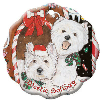 West Highland Terrier Westie Holiday Porcelain Christmas Tree Ornament