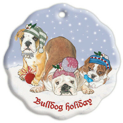 Bulldog Holiday Porcelain Christmas Tree Ornament