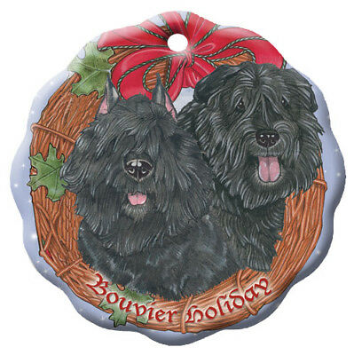 Bouvier des Flandres Holiday Porcelain Christmas Tree Ornament