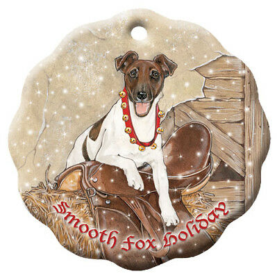 Fox Terrier Smooth Porcelain Christmas Tree Ornament