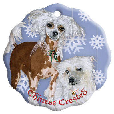 Chinese Crested Holiday Porcelain Christmas Tree Ornament