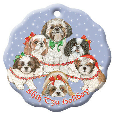Shih Tzu Holiday Porcelain Christmas Tree Ornament