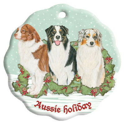 Australian Shepherd Holiday Porcelain Christmas Tree Ornament