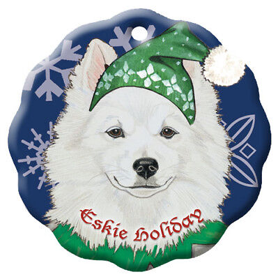 American Eskimo Eskie Dog Holiday Porcelain Christmas Tree Ornament