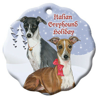 Italian Greyhound Holiday Porcelain Christmas Tree Ornament
