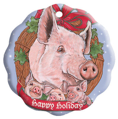 Pig Holiday Porcelain Christmas Tree Ornament