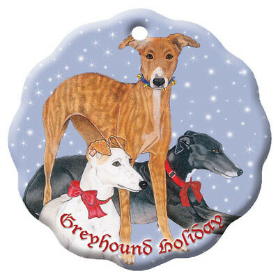 Greyhound Holiday Porcelain Christmas Tree Ornament