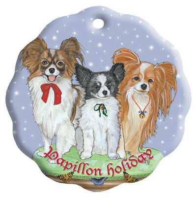 Papillon Holiday Porcelain Christmas Tree Ornament