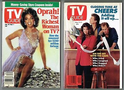 2 Vintage Tv Guide 1989+1993 Magazine Issues,oprah,cheers 3 Panel Foldout Finale