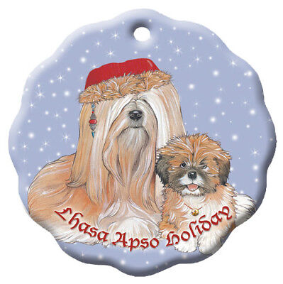 Lhasa Apso Holiday Porcelain Christmas Tree Ornament