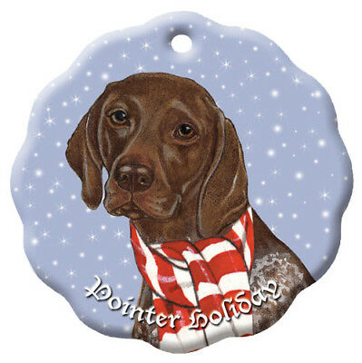 German Pointer Holiday Porcelain Christmas Tree Ornament