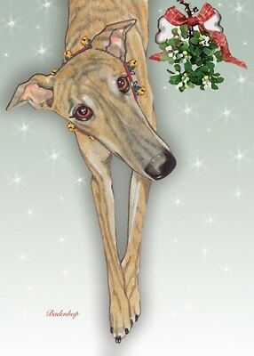 Greyhound Christmas Card 5 x 7 with Envelope