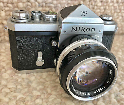 Early Nikon F Camera with Prism Finder and 5.8cm f/1.4 Lens and Case c.1960